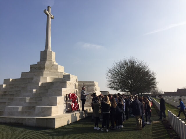 School party visiting Tyne Cot cemetery
